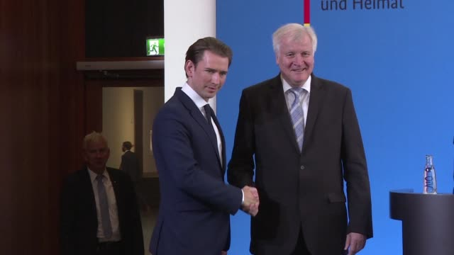 the hardline interior ministers of austria germany and italy have formed an axis of the willing to combat illegal immigration into the eu austrian... - österrikisk kultur bildbanksvideor och videomaterial från bakom kulisserna