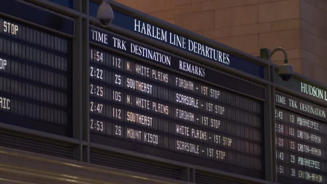 the harlem line departures board in grand central terminal in manhattan - western script stock videos & royalty-free footage