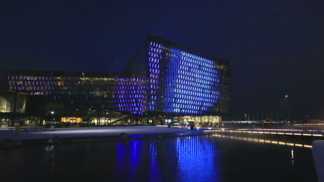 The Harpa Concert Hall at night, Reykjavik, Iceland,