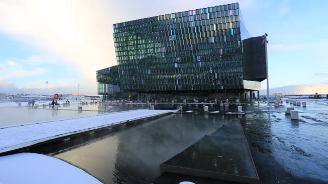the harpa concert hall, reykjavik, iceland, - reykjavik stock videos and b-roll footage