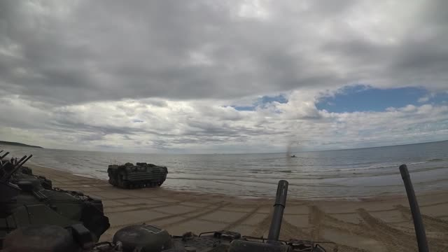 the harpers ferryclass dock landing ship uss oak hill launches aavp7/a1 amphibious assault vehicles during exercise baltic operations 2018 - amphibious vehicle stock videos & royalty-free footage