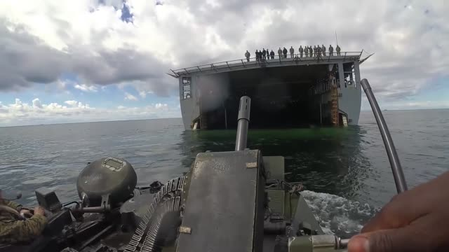 The Harpers Ferryclass dock landing ship USS Oak Hill launches AAVP7/A1 amphibious assault vehicles during exercise Baltic Operations 2018