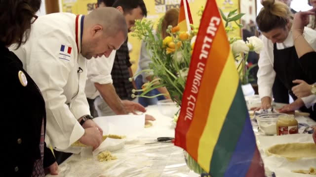 the head chef of the french presidential palace was in israel on monday to teach jewish and arab gay people rejected by their families how to cook... - jaffa stock-videos und b-roll-filmmaterial