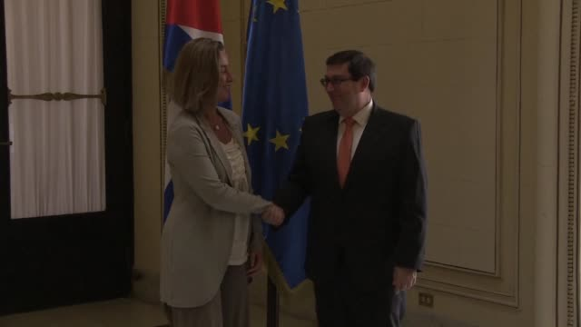 The head of European diplomacy Federica Mogherini and Cuban officials discuss the thorny issues of human rights and democracy on her last day of her...