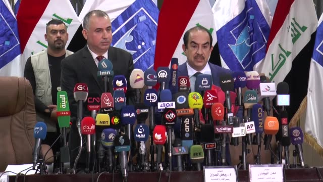 the head of iraq's independent higher election commission riyadh albadran speaks during a news conference in baghdad iraq may 19 2018 firebrand shia... - muqtada al sadr stock videos & royalty-free footage