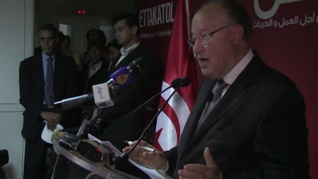 vídeos de stock e filmes b-roll de the head of the ettakatol party that won 21 seats in tunisia's constituent assembly election on october 23 called for a government of national... - política e governo