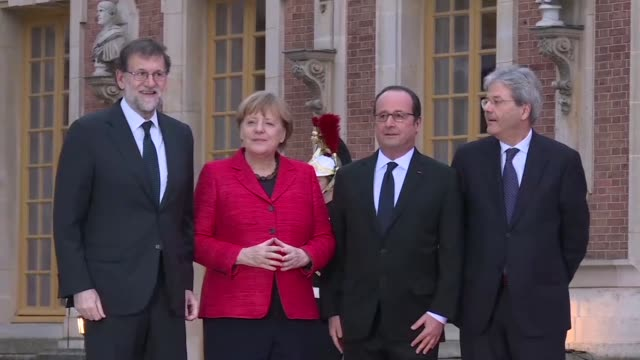 the heads of continental europe's biggest economies meet in the gilded splendour of the palace of versailles seeking ways of strengthening an eu... - populism stock videos and b-roll footage