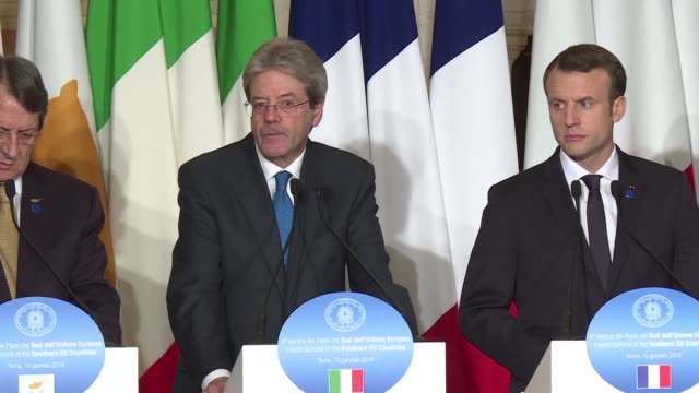 the heads of seven southern european states pledge to up their efforts to tackle one of the most stubborn thorns in the eu's side flows of migrants... - dornig stock-videos und b-roll-filmmaterial