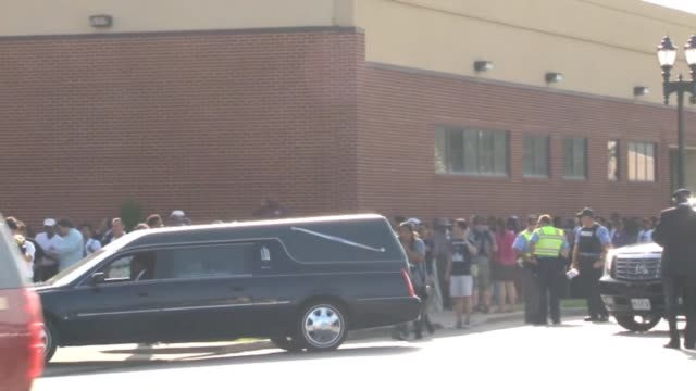 the hearse carrying the body of michael brown departs for the cemetery following funeral services at the friendly temple missionary baptist church on... - carro funebre video stock e b–roll
