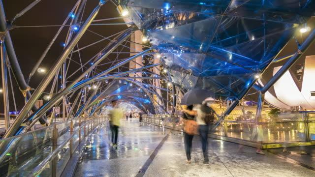 the helix bridge at night - helix bridge stock videos & royalty-free footage