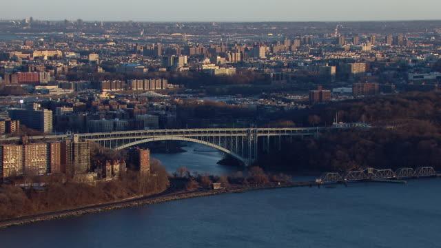 The Henry Hudson Bridge crosses the Spuyten Duyvil creek in New York City.
