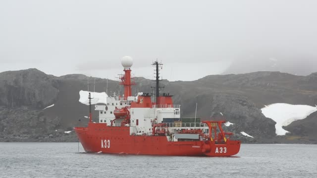 the hesperides a spanish polar research vessel moored off frei station on king george island south shetland islands antarctica - science stock videos & royalty-free footage