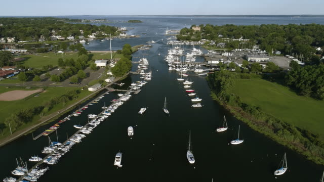 The high angle aerial view to the yachts in the Marina in Mamaroneck, Westchester, New York, USA.