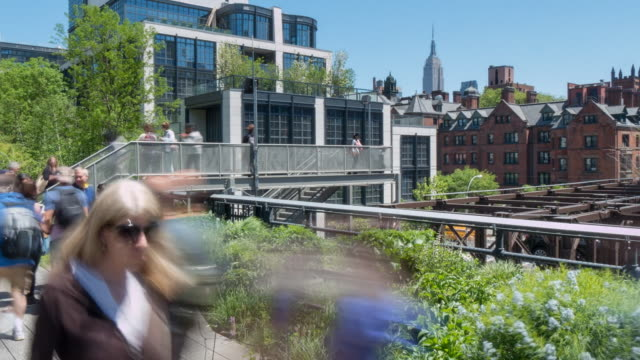 the high line in chelsea time lapse, manhattan, new york city, new york, usa, north america - chelsea new york stock videos & royalty-free footage