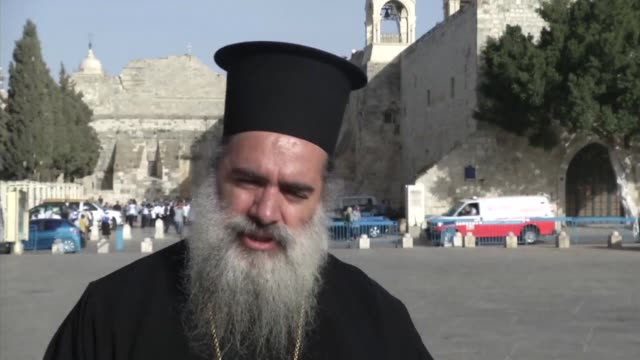 the highest christian clergy in bethlehem hails the election of pope francis and invites him to visit the church of the nativity clean highest... - church of the nativity stock videos and b-roll footage