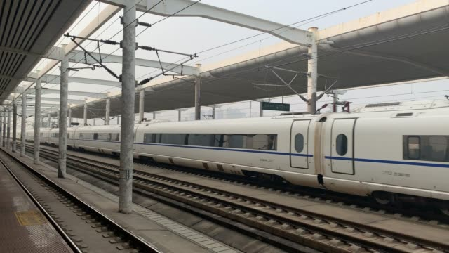 the high-speed rail quickly passed through the platform and made a huge noise - modern stock videos & royalty-free footage