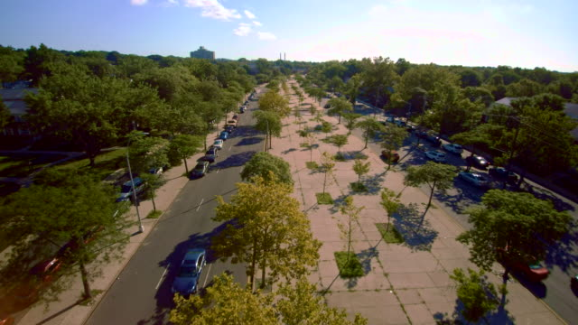 the hillside avenue. aerial footage of the queens village residential area, new york city, usa. - queens new york city stock videos and b-roll footage