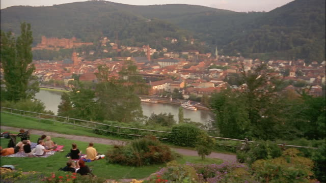 the hillside of philosophenweg overlooks the neckar river in heidelberg, germany. - neckar river stock videos & royalty-free footage