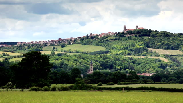 The hilltop village of Vezelay in Yonne, France.
