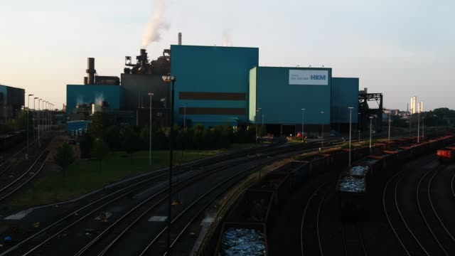 the hkm steel plant at sunset on may 31 2018 in duisburg germany the european union and the united states are so far on a collision course over steel... - ruhr stock videos & royalty-free footage