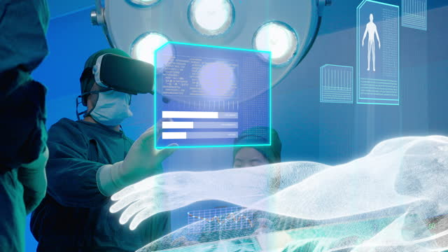 the hologram graphic medical future scanning using virtual reality system in the patient's surgery and access to big data in the body, that are necessary for treatment. - operating stock videos & royalty-free footage
