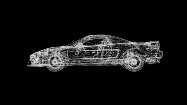 回転車のホログラム、4kアニメーション黒と白の3次元ループ可能。 - hologram点の映像素材/bロール