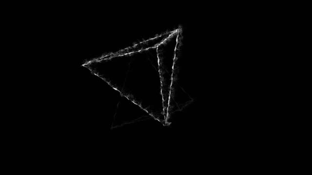 vídeos de stock e filmes b-roll de the hologram of a rotating geometric shapes, 4k animation black and white three dimensional loopable. - modelação low poly