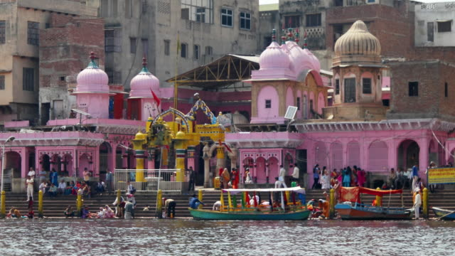 the holy ghats, bathing banks, at sacred river yamuna in mathura, up, india - religion stock videos & royalty-free footage