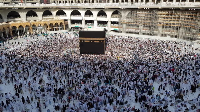 the holy kaaba, mecca saudi arabia. - wallfahrt stock-videos und b-roll-filmmaterial