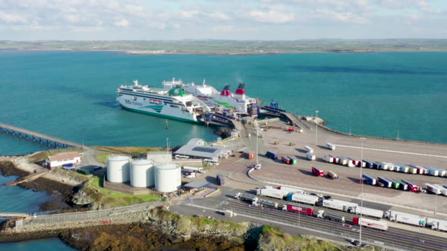 the holyhead to dublin ferry, ulysses operated by irish ferries, leaves port on october 29, 2019 in holyhead, wales. holyhead ferry port is one of... - ferry stock videos & royalty-free footage