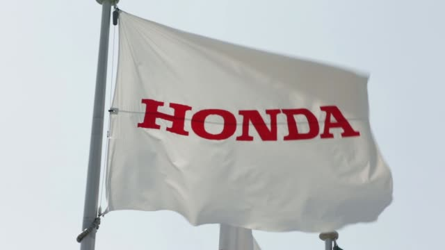 the honda motor co logo is displayed outside the companys yorii plant in yorii town saitama prefecture japan on tuesday march 8 the honda motor co... - honda stock videos & royalty-free footage