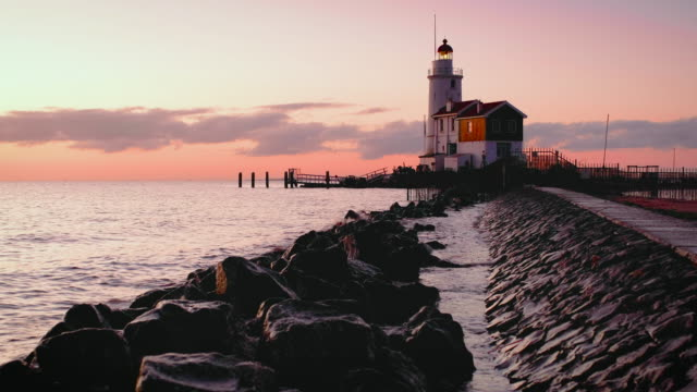 the horse of marken lighthouse - hot pink stock videos & royalty-free footage
