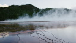 The Hot Water of Grand Prismatic Spring Steams near a Forest in Yellowstone National Park in Wyoming