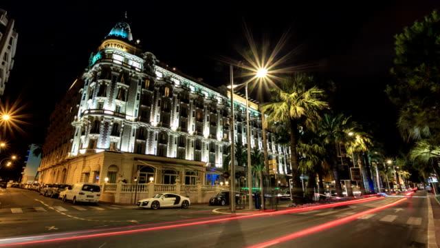 vídeos de stock, filmes e b-roll de tl the hotel carlton on the croisette. night / france, cannes - cannes