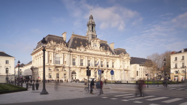 the hotel de ville or town hall or tours, france. - town hall stock videos & royalty-free footage