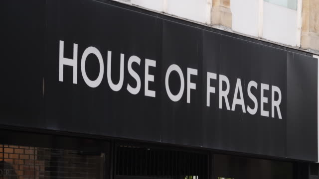 vídeos y material grabado en eventos de stock de the house of fraser store on the hayes in cardiff wales uk the high street department store has appointed turnaround specialists kpmg to advise on a... - letrero de tienda
