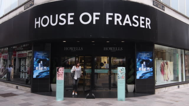the house of fraser store on the hayes in cardiff wales uk the high street department store has appointed turnaround specialists kpmg to advise on a... - butiksskylt bildbanksvideor och videomaterial från bakom kulisserna