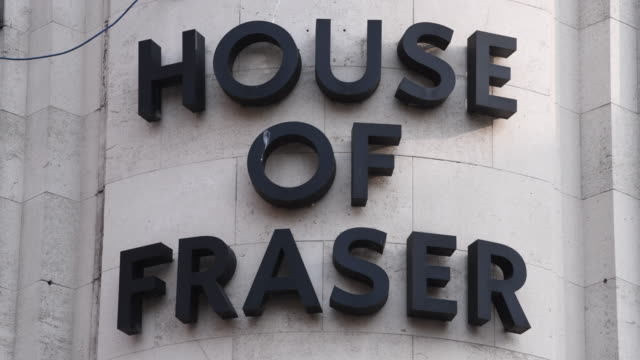 the house of fraser store on the hayes in cardiff wales uk the high street department store has appointed turnaround specialists kpmg to advise on a... - ladenschild stock-videos und b-roll-filmmaterial