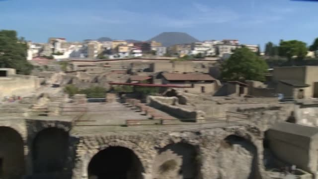 the house of the bicentenary at the herculaneum archaeological site outside of naples is reopened after decades of renovation - archeologia video stock e b–roll