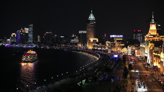 The Huangpu River flows along the Bund in Shanghai, China.