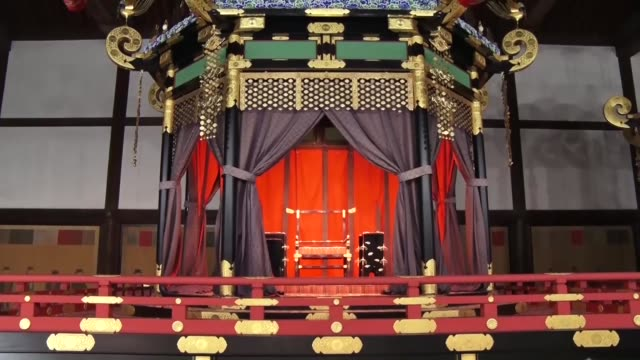 the huge takamikura throne that will be used in next year's ceremony to mark crown prince naruhito's accession to the chrysanthemum throne was shown... - japanese royalty stock videos and b-roll footage