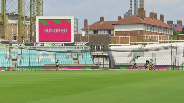 'the hundred' tournament debuts at the oval; england: london: ext beth barrett-wild interview sot kennington: the oval: ext various shots of men's... - oval kennington stock videos & royalty-free footage