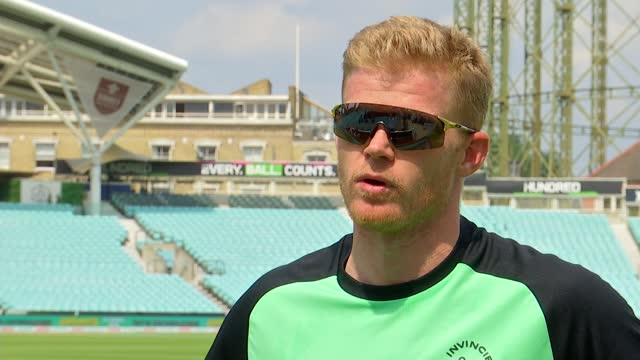 'the hundred' tournament debuts at the oval; england: london: kennington: the oval: ext various shots of men's cricket team warming up sam billings... - oval kennington stock videos & royalty-free footage