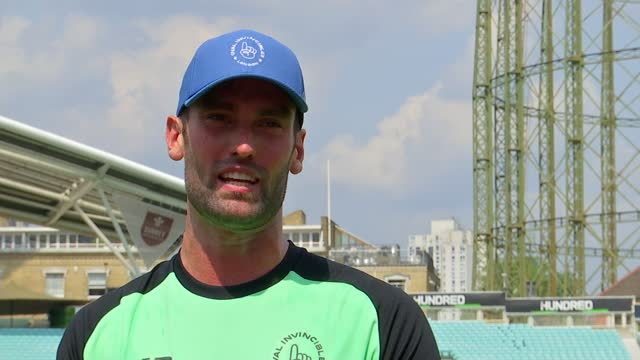 'the hundred' tournament debuts at the oval; england: london: kennington: the oval: ext men's cricket team warming up low angle views of stage set up... - oval kennington stock videos & royalty-free footage