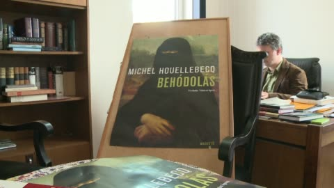 """the hungarian edition of """"submission"""", a french novel on islam by michel houellebecq is creating a stir before its release, due to the cover which... - ungersk kultur bildbanksvideor och videomaterial från bakom kulisserna"""