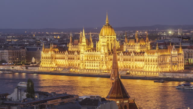 The Hungarian Parliament Building and Chain Bridge in Budapest, Hungary.