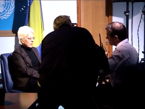the hunt for general radko mladic sarajevo ext convoy of police vehicles arriving at press conference neely interviewing carla del ponte carla del... - ponte stock videos & royalty-free footage