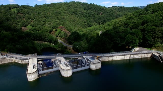 The hydroelectric dam of Castelnau-Lassouts on the Lot river, Aveyron, France