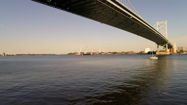 The hyperlapse aerial view on the sailing boat passing under the Benjamin Franklin Bridge, with the scenic view across the Delaware River from Philadelphia, PA to Cadmen, NJ