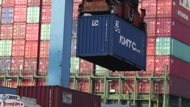 The Hyundai Force container ship sits docked at the Jawaharlal Nehru Port operated by Jawaharlal Nehru Port Trust in Navi Mumbai Maharashtra India on...
